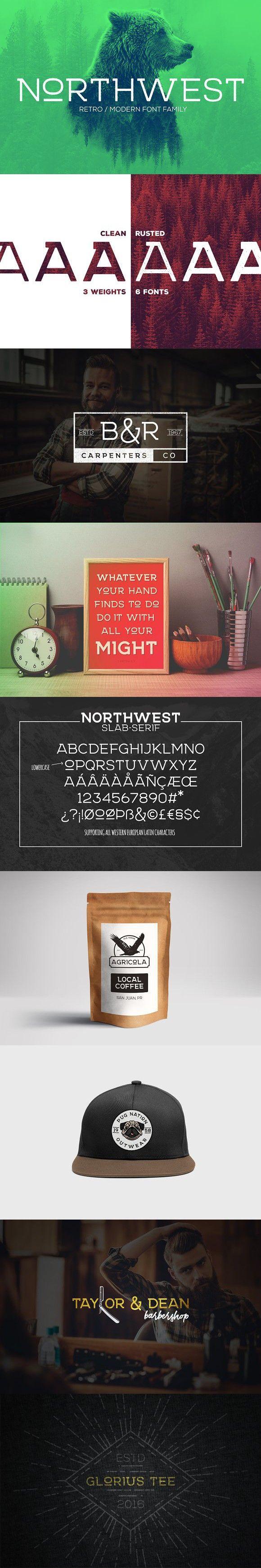 NORTHWEST - RETRO/MODERN FONT-FAMILY. Slab Serif Fonts. $16.00