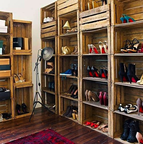 box shelves with crates