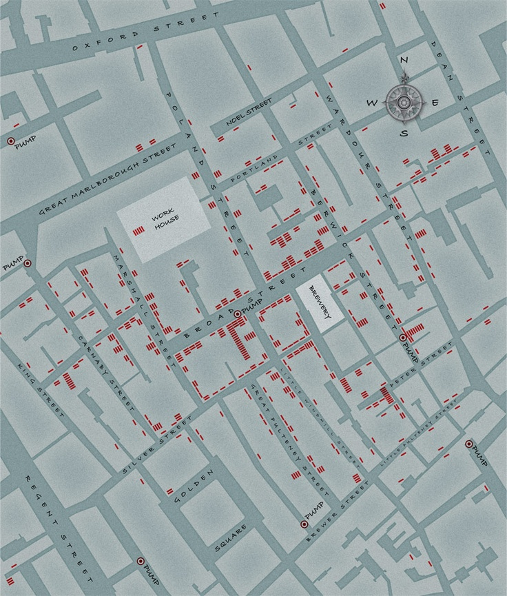 A reproduction of Dr. John Snow's map of Soho, mapping the cholera epidemic of 1854.