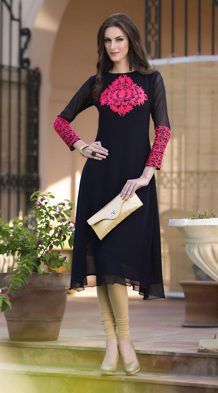 Lovely Pink Resham Work Black Pure Viscose Georgette Kurti
