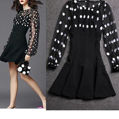 Women's Polka Dot Short Dress - Black / Dotted Chiffon / Empire Waistline