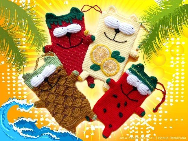 Вязанные крючком чехлы для телефона Фруктовые коточехлы - мастер-класс. Вязаные фрукты описание. Вязаный арбуз, лимон, клубника, ананас.