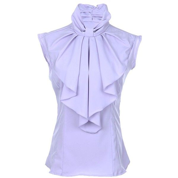 Anna-Kaci S/M Fit Soft High Neck Ruffle Collar Sleeveless Modern... ($23) ❤ liked on Polyvore featuring tops, blouses, sleeveless tops, purple top, sleeveless blouse, high neck blouse and high neck sleeveless top