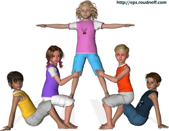 Pyramides et figures d'acrosport en 3D - *Acrosport en primaire - Pyramides à 5