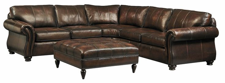 This generously sized sectional is a work of art. The finely crafted, 100% top grain leather is semi aniline and hand antiqued. Brass nailhead trim adds a special touch of elegance, making it a true classic.<br><br>- Custom orders are available.<br>- Coordinating items: queen sleeper sofa, sofa, loveseat, chair, ottoman, cocktail ottoman, or recliner.<br><br>- See the nearest Star Furniture showroom for more details or request information (below).