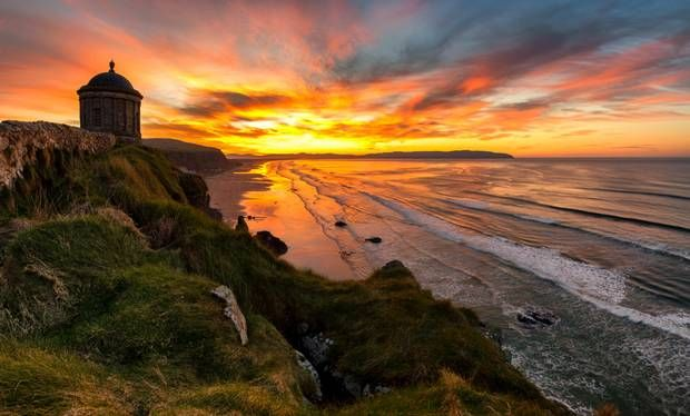A beautiful sunset at Mussenden Temple, Northern Ireland.