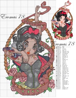 Tattoo-style Disney princesses. Original artwork by Timothy John Shumate (DeviantArt: http:// telegrafixs . deviantart . com). Don't think these patterns are official/approved by the artist.
