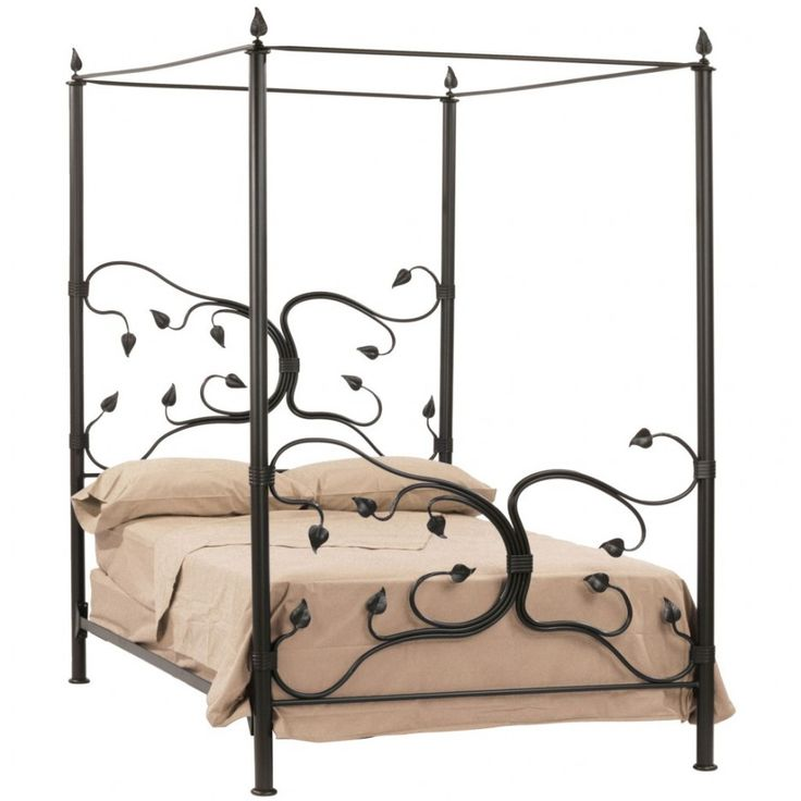 Bedroom. Bedroom Ideas Furniture. Beautiful Bedroom Canopy Bed Design Ideas. Amazing Whimsical Black Wrought Iron Canopy Bed Feature Carving Swirly Leaves Bed Headboard And Foot Board And Plain Brown Bedding Set. Beautiful Bedroom Canopy Bed Design Ideas