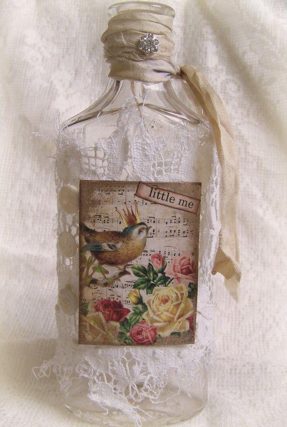Altered Bottle Vintage  Bottle Shabby White Bottle by QueenBe, $19.00