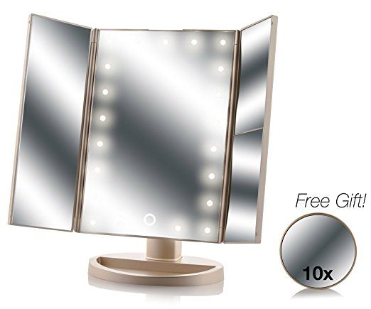 Asani Tri Fold Lighted Magnification Makeup Mirror With A Free 10x