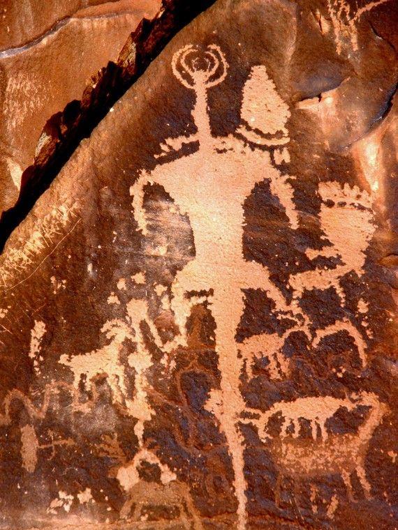 Ancient rock petroglyphs