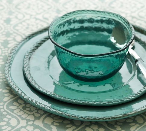 Rope Outdoor Dinnerware, Turquoise | Pottery Barn....Love that these dishes have the look of ceramic and glass, but they are unbreakable melamine!!!