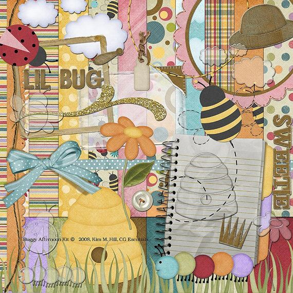 """Ladybug Digital Scrapbook Kit - """"Buggy Afternoon"""" has soft primary colors with acrylic overlays, bug stickers and chipboard elements"""