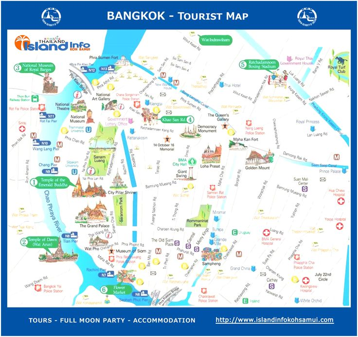 Bangkok Tourist Map. Metro, BTS Skytrain. Landmarks, tourist sites. Info about Thailand, tours, hotels and the southern islands at: http://www.islandinfokohsamui.com/