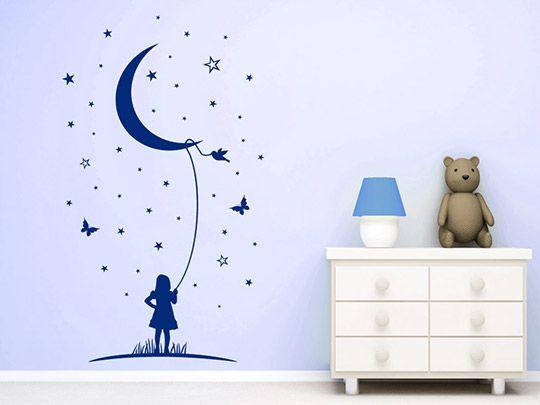Sterne Wandtattoo Mond Phantasie Babyzimmer Wandtattoo von Wandtattoo.net