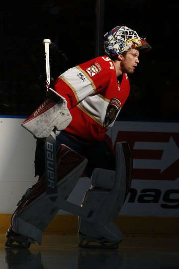 SUNRISE, FL - JANUARY 14: Goaltender James Reimer #34 of the Florida Panthers skates out to the net prior to the start of the game against the Columbus Blue Jackets at the BB&T Center on January 14, 2017 in Sunrise, Florida. (Photo by Eliot J. Schechter/NHLI via Getty Images)