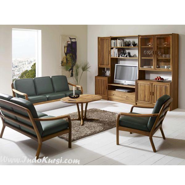 JualSet Kursi Sofa Ruang Tamu Vintage Minimalis desain Ruang Tamu yang mewah dan elegant dengan Model Kursi Bangku Scandinavia dengan bahan Kayu Jati Perhutani