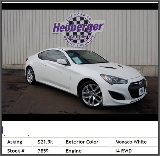 2013 Hyundai Genesis Coupe 2.0T Coupe Center Console Full