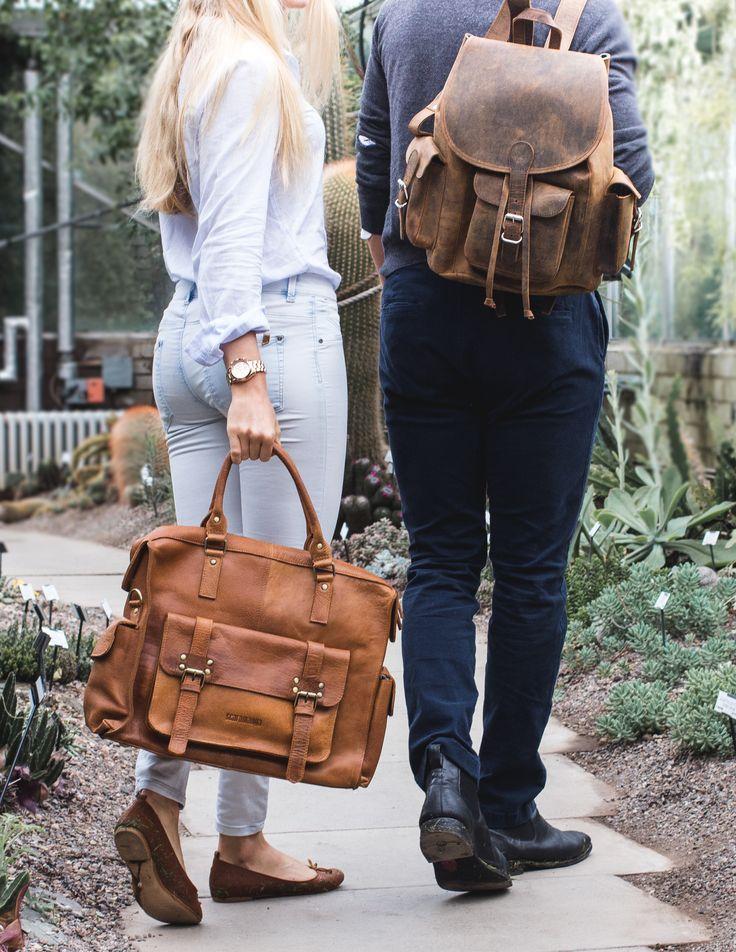 Leather weekender bag by Scaramanga