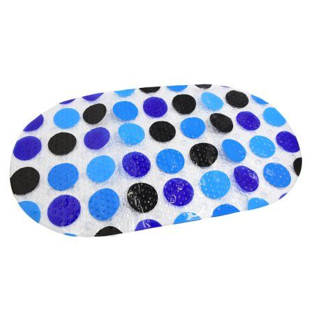 (27.6 inch x 14.6 inch)Blue PVC Non Slip Shower Stall Bathtub Mat Mildew Resistant, Multicolor