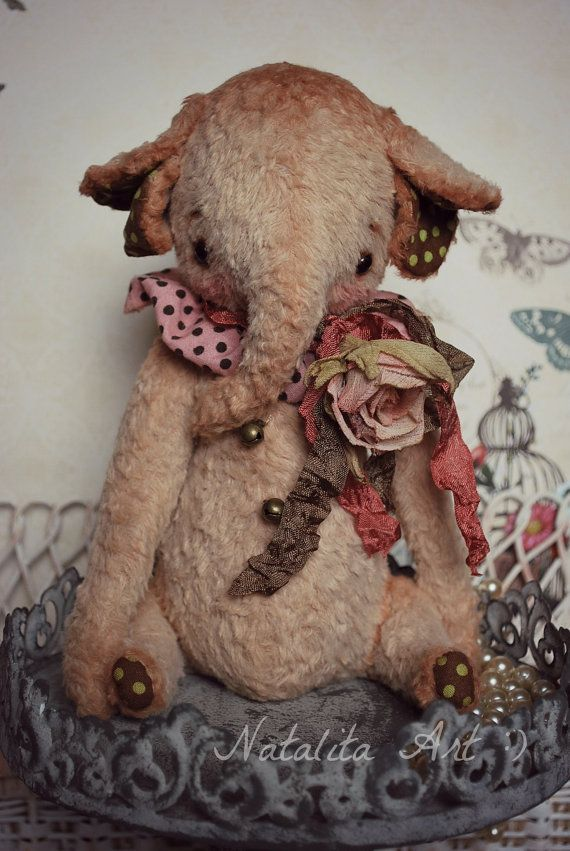 RESERVE for Julie OOAK Vintage Sweet Elephant by by NataliSekreta: