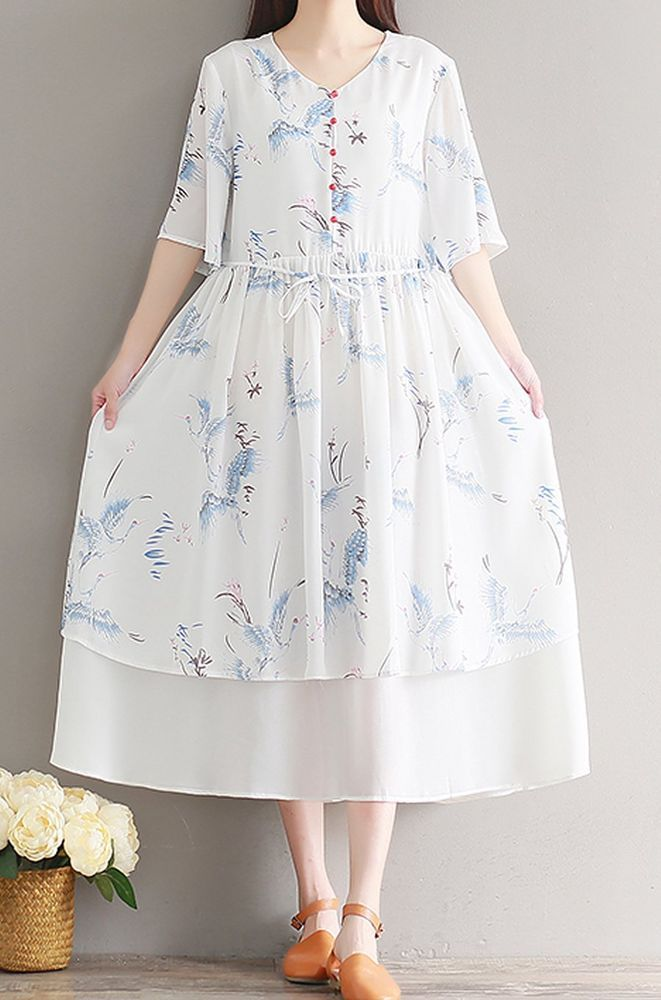 Women loose fitting over plus size flower dress chiffon long tunic fashion chic #Unbranded #dress #Casual