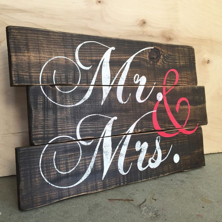 Mr & Mrs Custom Wood Pallet Photo booth prop in Rustic Finish