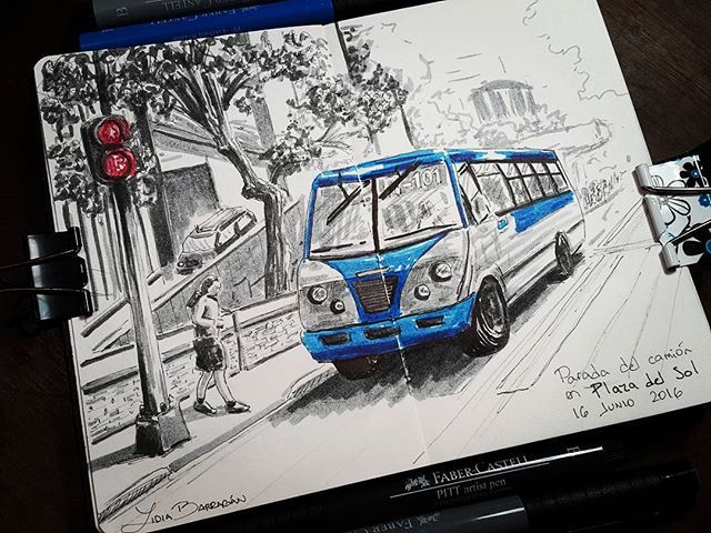 #publictransport #sketch #sketchbook #cansonsketchbook #urbansketch #trasportepublico #minibus