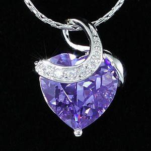 purple sapphire heart necklace