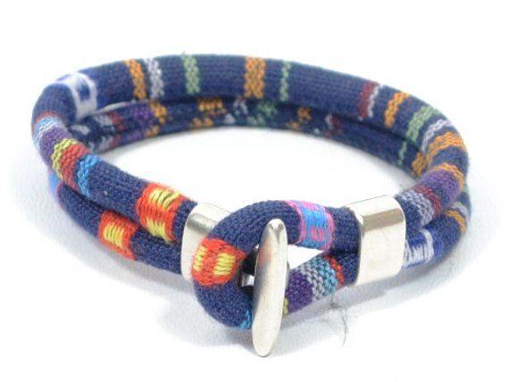 blue woven bracelet, blue ethnic bracelet, men women bracelet, fabric and zamak …   – jewelry