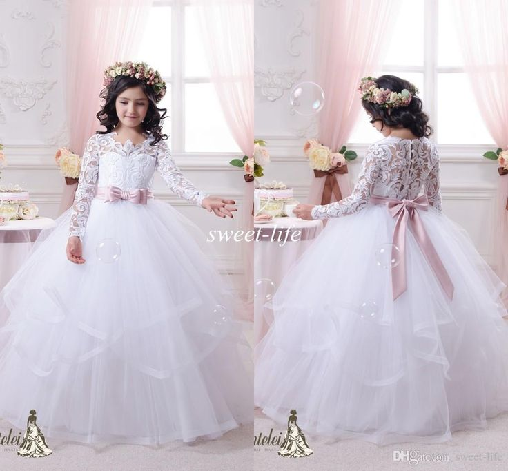 Vintage Lace Long Sleeves Flower Girls Dresses Ball Gown Tutu 2015 Blush Sash Ruffles Floor Length Girls Pageant Dress Kids Communion Gowns Online with $78.79/Piece on Sweet-life's Store | DHgate.com