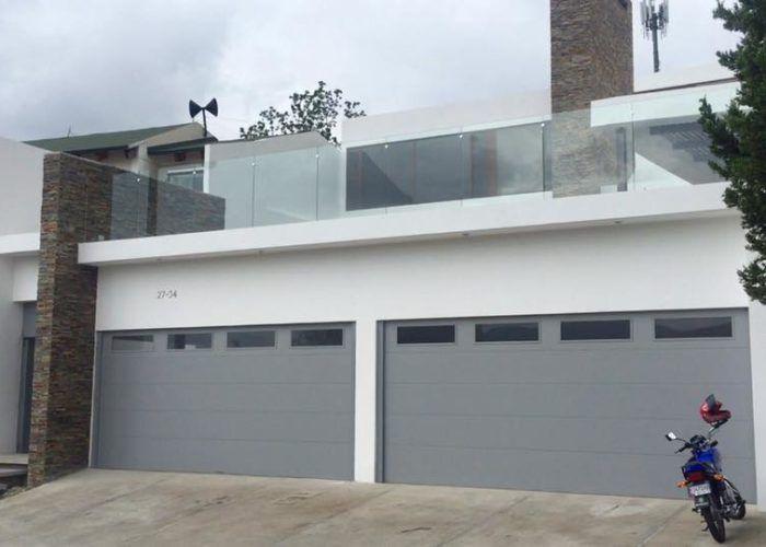 Grey Flush Panel Garage Door With Top Windows Garage Doors Garage Door Panels Garage Door Types