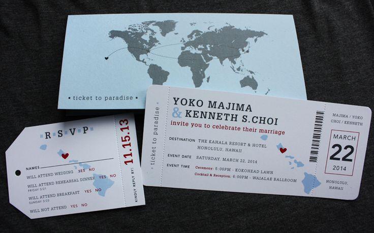 Invitación de boda tipo billete avión.