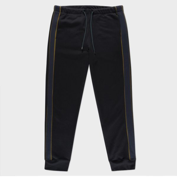 Men's Black Loopback-Cotton Sweatpants With Contrast Side-Stripes