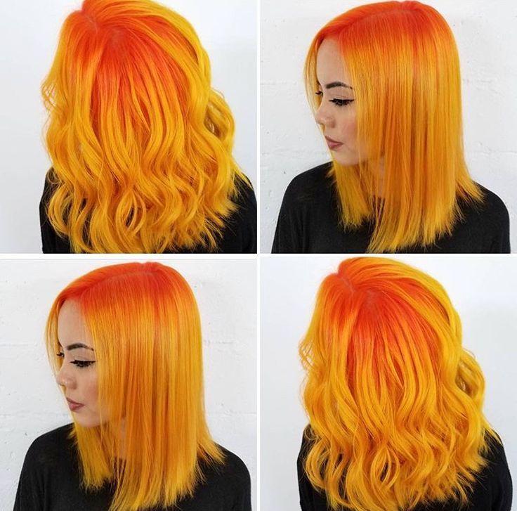 Orange and yellow hair  – Frisuren – Farben / bunt – #Bunt #Farben #Frisuren #ha…