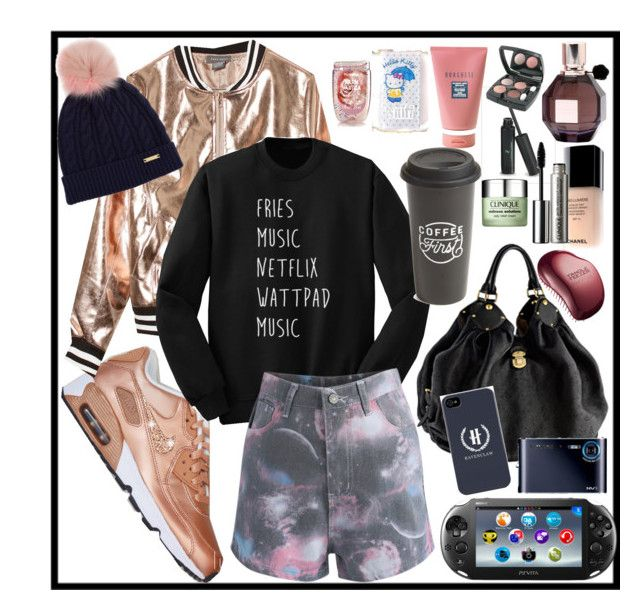 """""""Casual Outfit. Show me what's in your bag"""" by velvy on Polyvore featuring Louis Vuitton, Chanel, Victoria's Secret, Clinique, Hello Kitty, Sans Souci, Chicwish, Burberry, The Created Co. and Viktor & Rolf"""