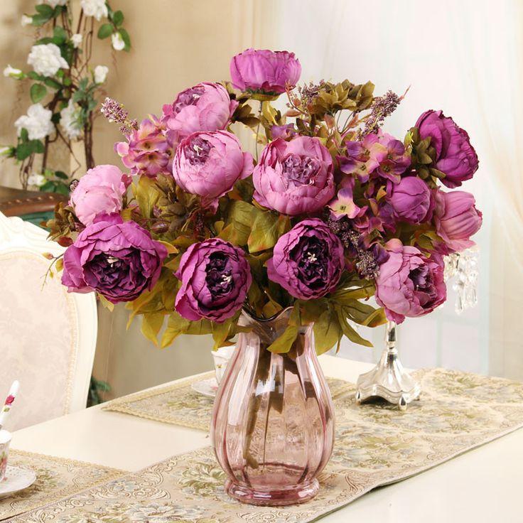 8 heads/Bouquet Elegant Artificial Peony Silk Flowers home Wedding Party Decor artificial flower bouquet Decoration Flowers