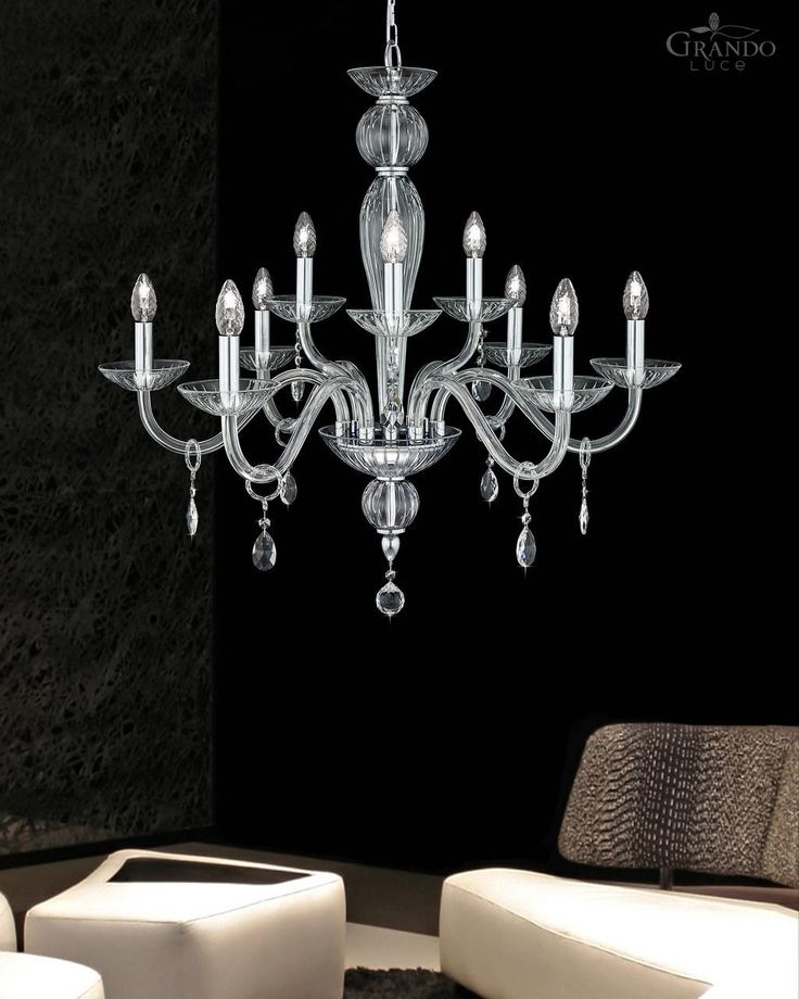 112/6+3 CH chrome crystal chandelier decorated with Swarovski Elements. - GrandoLuce