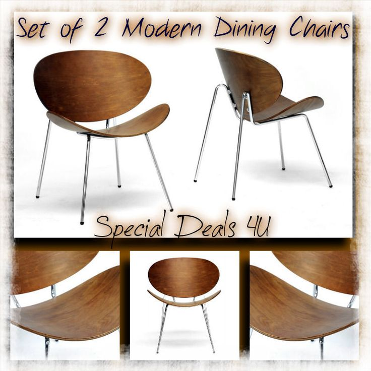 Modern Wood Chair Vintage Dining Living Room Kitchen Metal Walnut Set of 2 New #New #AccentMidCenturyClassicContemporary