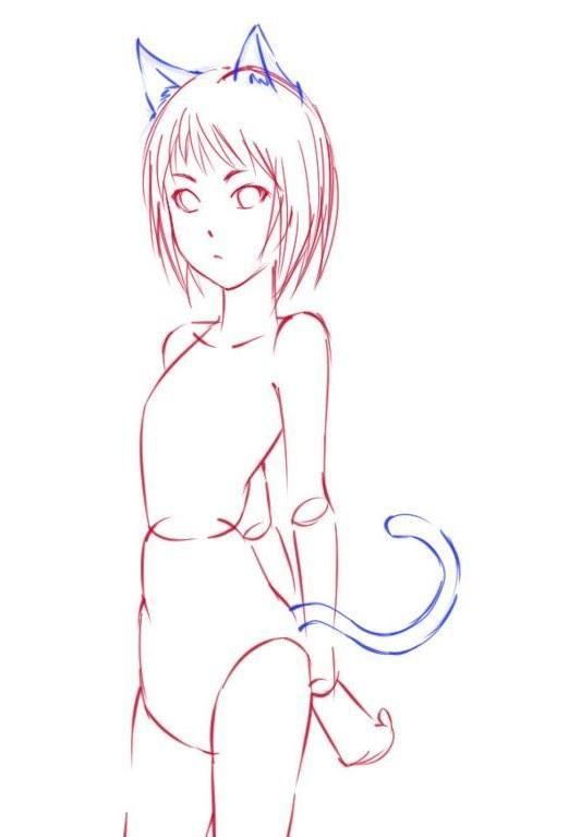 Открытка, анимашки девочки карандашом