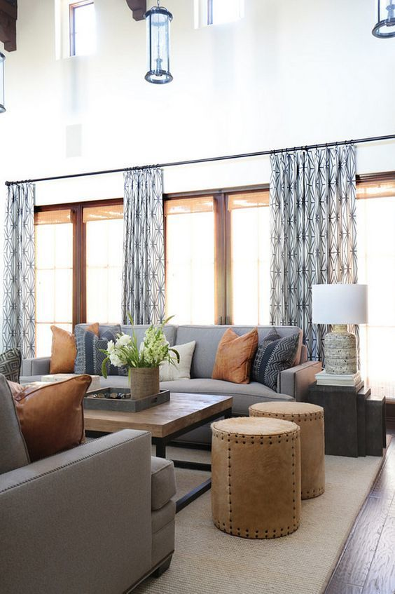 Kelly Wearstler Katana Living Room Drapes In Ebony Ivory Blackband Design