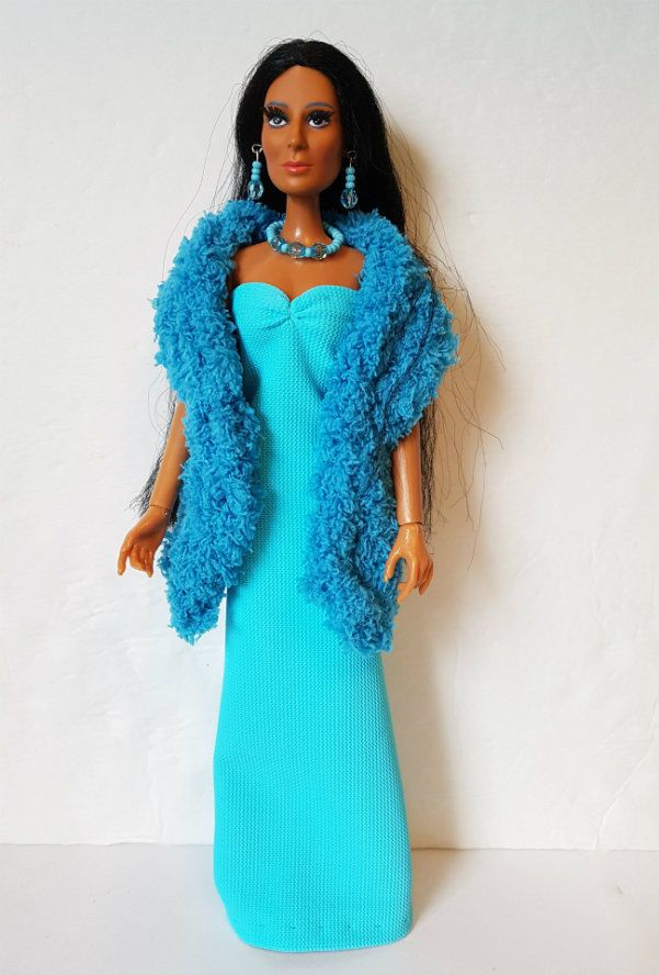 Mego CHER FARRAH Doll HM Clothes Blue BOA GOWN & JEWELRY Fashion NO DOLL d4e #DOLLS4EMMA #ClothingAccessories