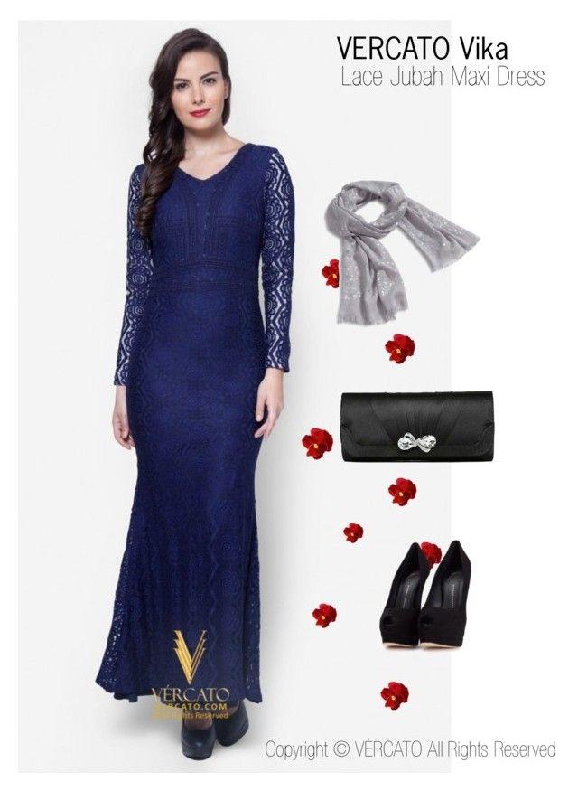 """Baju Kurung Lace Terkini 2016"" by vercato on Polyvore featuring Lace Jubah Maxi Dress - Vercato Vika in Navy Blue. SHOP NOW: www.vercato.com"