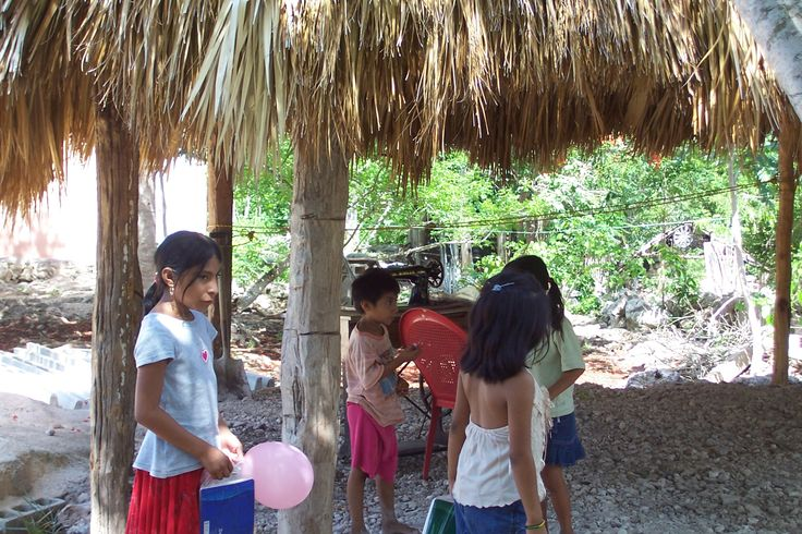 Coba mayan village children just came home from school