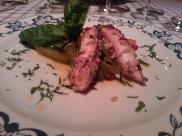 Grilled octopus with sweet pepper, sauce agro dolce  La Bottega, Tallinn