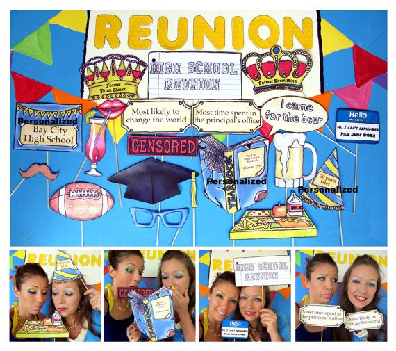 High School Reunion photo booth props perfect for bringing