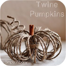 "6 yards of orange twine, glue, and a 2"" diameter bottle make a really cute version of this."
