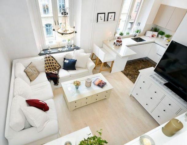 Este es un excelente ejemplo, de un piso de 30 metros que parece el doble por su buen diseño, colores, y demás.