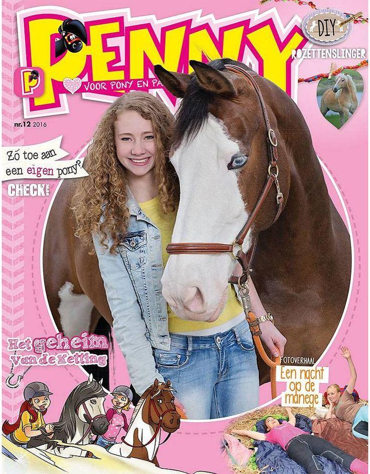 Penny 12-2016 Een aflevering van de strip Volle Maan, waarin Evy van haar oma een geheimzinnige ketting krijgt.  Doe de kwis om te zien of jij een poetswonder bent.  In het fotoverhaal beleef je een nacht op de manege.  We laten zien hoe je een prachtige rozettenslinger maakt. En nog veeeeeel meer!