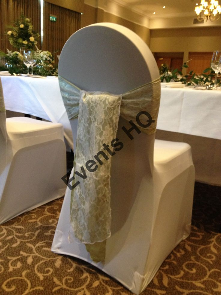 Spandex chair covers, pale sage satin sashes with lace overlays. Craxton wood wedding